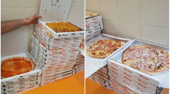 pizza consegnata a ospedali pugliese e ciaccio